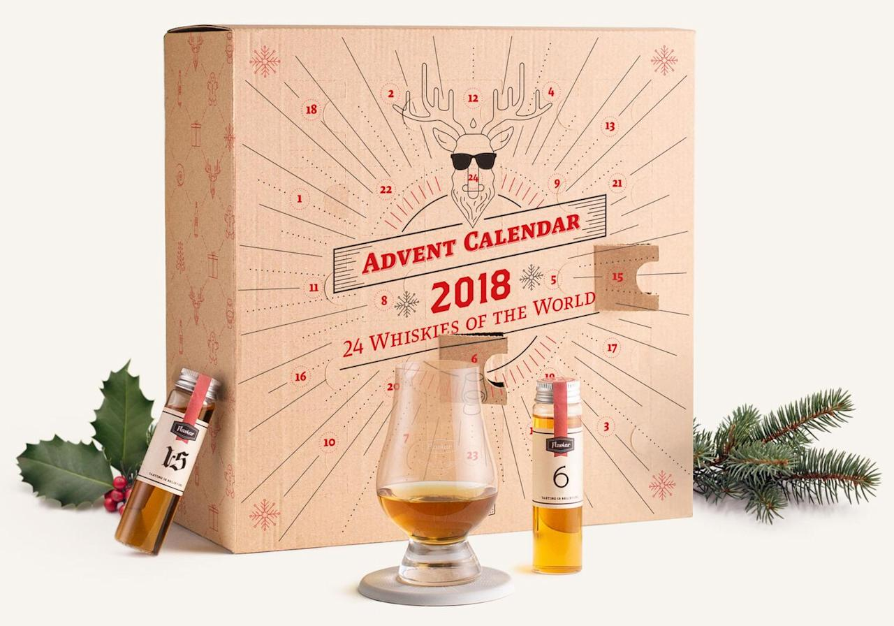 """<p><a rel=""""nofollow"""" href=""""https://flaviar.com/gifts"""">SHOP NOW</a>  Membership starts at $120 </p><p><strong>Best for: </strong>The Whiskey lover you want to treat this holiday: the advent calendar is included with a membership to Flaviar, a spirits enthusiast club that sends you personalized bottles to taste. </p><p><strong>What's inside: </strong>24 whiskey samples from around the world, picked by the whiskey experts at Flaviar. <strong></strong></p>"""