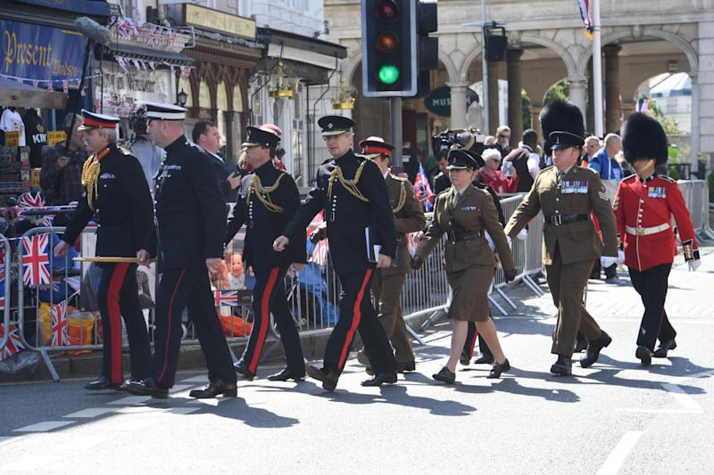 Quick march: personnel from the Armed Forces stage a dress rehearsal through Windsor today. (Jeremy Selwyn)