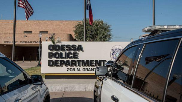 PHOTO: ODESSA, TX - SEPTEMBER 1: Flowers hang on the Odessa Police Department sign following a deadly shooting spree on September 1, 2019 in Odessa, Texas. (Cengiz Yar/Getty Images)