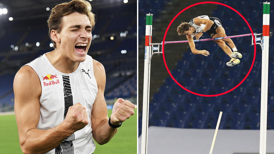 Armand Duplantis, pictured here breaking the outdoor pole vault world record.