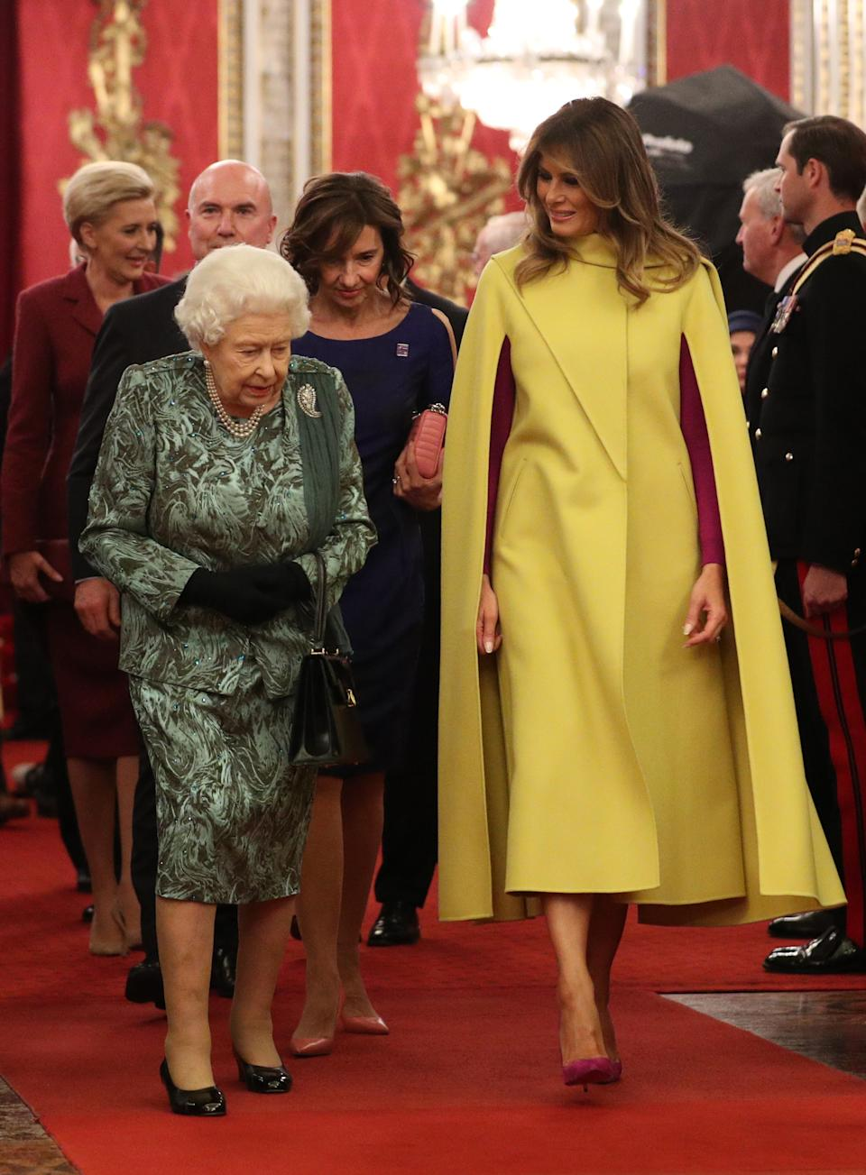 Queen Elizabeth II with Melania Trump during the reception in Buckingham Palace, London, as Nato leaders gather to mark 70 years of the alliance. [Photo: Getty]