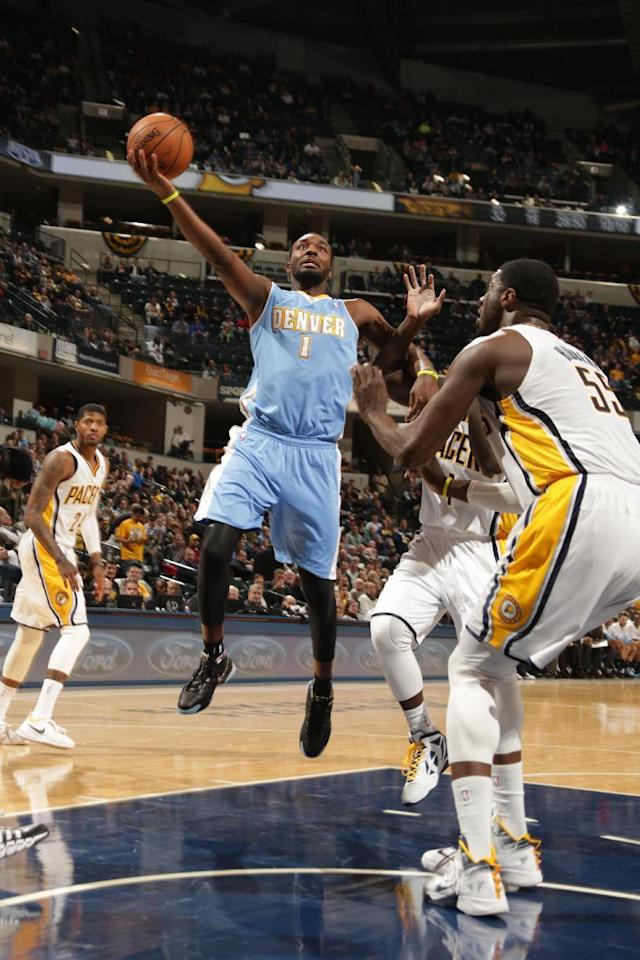 INDIANAPOLIS - FEBRUARY 10: Jordan Hamilton #1 of the Denver Nuggets goes up for the layup against the Indiana Pacers at Bankers Life Fieldhouse on February 10, 2014 in Indianapolis, Indiana. (Photo by Ron Hoskins/NBAE via Getty Images)