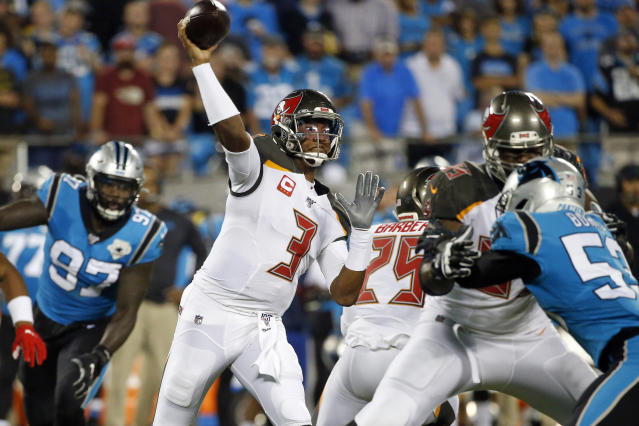 Tampa Bay Buccaneers quarterback Jameis Winston (3) passes during the first half of an NFL football game against the Carolina Panthers in Charlotte, N.C., Thursday, Sept. 12, 2019. (AP Photo/Brian Blanco)