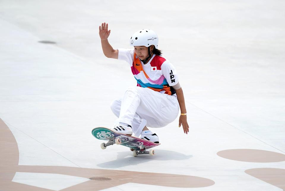Japan's Momiji Nishiya during the Women's Street Final at the Ariake Urban Sports Park on the third day of the Tokyo 2020 Olympic Games in Japan. Picture date: Monday July 26, 2021. (Photo by Mike Egerton/PA Images via Getty Images)