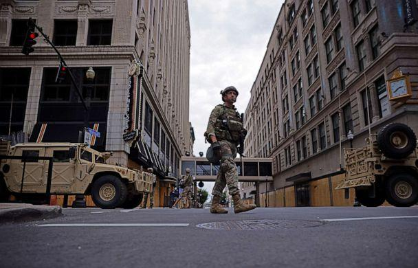 PHOTO: A member of the National Guard patrols the section of a downtown in Louisville, Ky., Sept. 23, 2020. (Carlos Barria/Reuters)