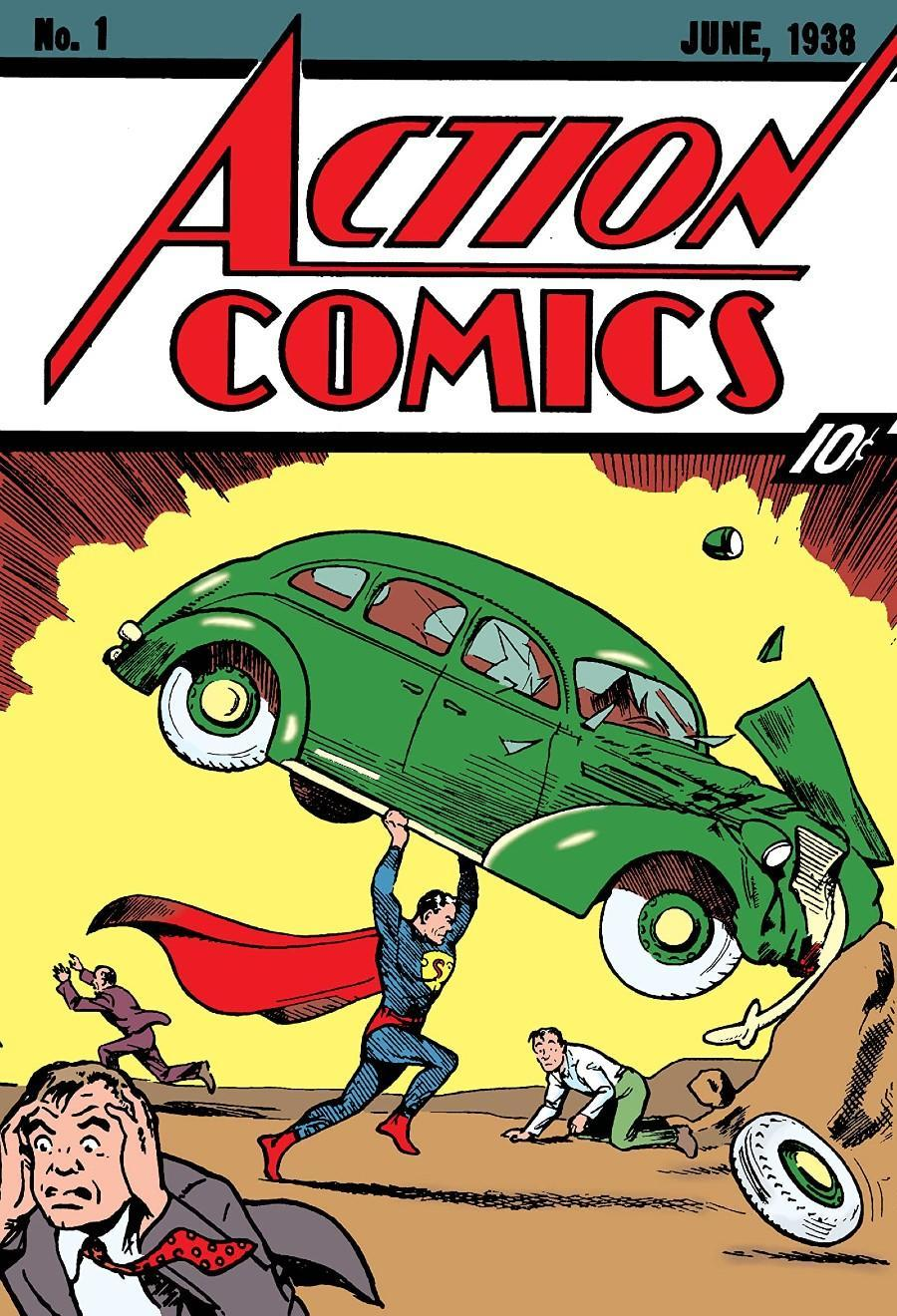 Full image for Action Comics #1 featuring the first appearance of Superman, seen here lifting a green car to save a citizen.