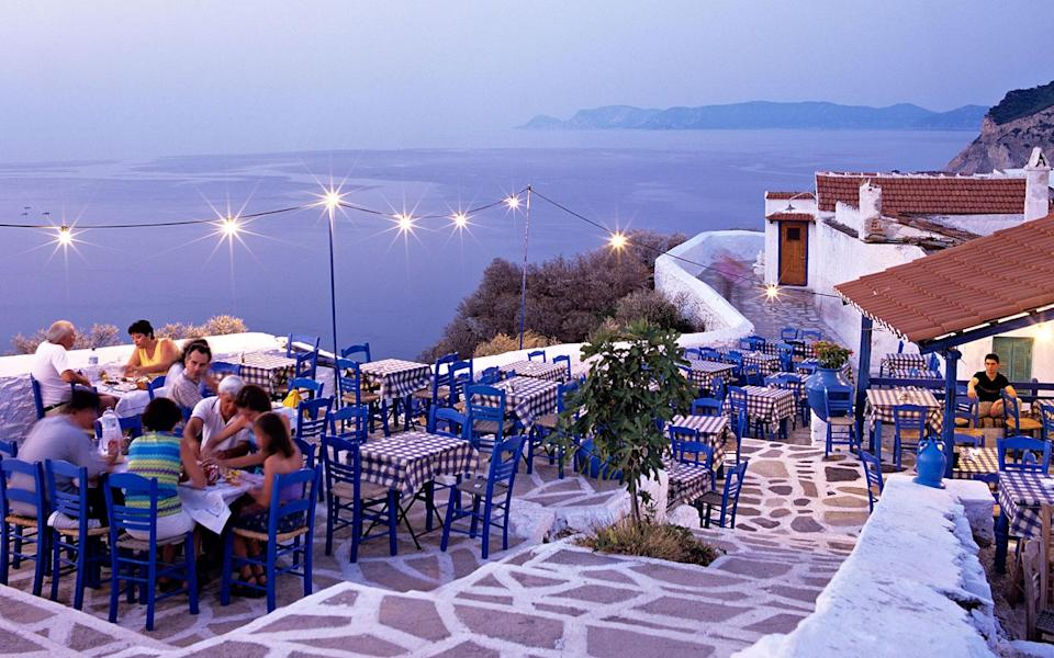 """<p>A one-hour ferry ride from Skiathos, the island of Skopelos is so picture-perfect (hidden coves; blue-roofed tavernas; hundreds of Byzantine-era churches) that Hollywood chose its Kastani Beach as a set for <em>Mamma Mia</em>. At the just-renovated <strong>Adrina Beach Hotel</strong> <em>(Panormos; 34-24240/23371; <a href=""""http://www.adrina.gr/"""" rel=""""nofollow noopener"""" target=""""_blank"""" data-ylk=""""slk:adrina.gr"""" class=""""link rapid-noclick-resp"""">adrina.gr</a>; doubles from $98)</em>, the 49 pastel-colored rooms face the pine-tree-studded coastline, strewn with daybeds. Later this year, the same owners will debut the more upscale <strong>Adrina Resort & Spa</strong> <em>(Panormos; 30-24240/23371; <a href=""""http://www.theresort.gr/"""" rel=""""nofollow noopener"""" target=""""_blank"""" data-ylk=""""slk:theresort.gr"""" class=""""link rapid-noclick-resp"""">theresort.gr</a>; doubles from $110),</em> with 16 terraced rooms and 22 villas that look out onto the turquoise Aegean.</p><p><strong>T+L Tip:</strong> After a dinner of grilled lamb at garden-side <strong>Perivoli</strong> <em>(Skopelos Town; 30-24240/23758; dinner for two $60)</em>, walk to open-air <strong>Mercurius Bar & Café</strong> <em>(Skopelos Town; 30-24240/24593; drinks for two $12),</em> or the hillside <strong>Ouzeri Anatoli</strong> <em>(Skopelos Town; 30-24240/22851; drinks for two $12)</em>, for live <em>rebetika</em> music. -<em>Christine Ciarmello</em></p>"""