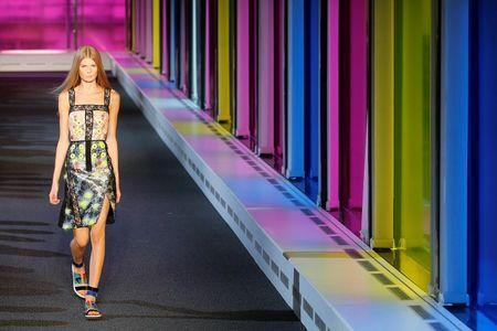 A model presents a creation from the Peter Pilotto Spring/Summer 2015 collection during London Fashion Week September 15, 2014. REUTERS/Stefan Wermuth