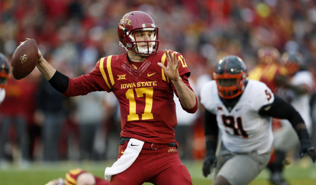 Iowa State quarterback Kyle Kempt threw for 1,787 yards and 15 touchdowns in 2017. (AP Photo)