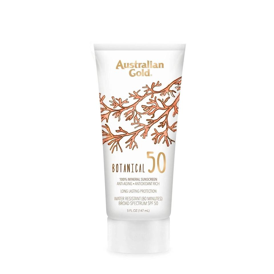 """<p>""""I prefer inexpensive body sunscreens because I'm more likely to use them liberally (vs. rationing a pricier option), and <a href=""""https://www.popsugar.com/buy/Australian-Gold-Botanical-Mineral-Sunscreen-SPF-50-585482?p_name=Australian%20Gold%20Botanical%20Mineral%20Sunscreen%20SPF%2050&retailer=target.com&pid=585482&price=15&evar1=bella%3Aus&evar9=47580543&evar98=https%3A%2F%2Fwww.popsugar.com%2Fbeauty%2Fphoto-gallery%2F47580543%2Fimage%2F47581040%2FAustralian-Gold-Botanical-Mineral-Sunscreen-SPF-50&list1=beauty%20products%2Csunscreen%2Ceditors%20pick%2Csummer%2Cskin%20care&prop13=mobile&pdata=1"""" class=""""link rapid-noclick-resp"""" rel=""""nofollow noopener"""" target=""""_blank"""" data-ylk=""""slk:Australian Gold Botanical Mineral Sunscreen SPF 50"""">Australian Gold Botanical Mineral Sunscreen SPF 50</a> ($15) is my drugstore go-to. It's a mineral formula that rubs in easily, feels silky like a body lotion, and has a hint of a summery smell. I'm pretty petrified of the sun, but I feel protected when I wear it."""" - DD</p>"""