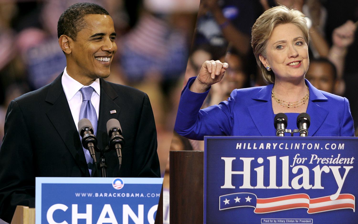 Democratic presidential candidate Sen. Barack Obama speaks at a rally in 2008; Democratic presidential hopeful Sen. Hillary Rodham Clinton addresses supporters in South Dakota and Montana. (Photos: Morry Gash/AP, Julie Jacobson/AP)