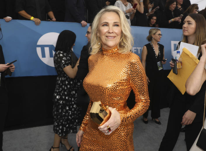 FILE - Catherine O'Hara arrives at the 26th annual Screen Actors Guild Awards on Jan. 19, 2020, in Los Angeles. O'Hara turns 67 on March 4. (Photo by Matt Sayles/Invision/AP, File)