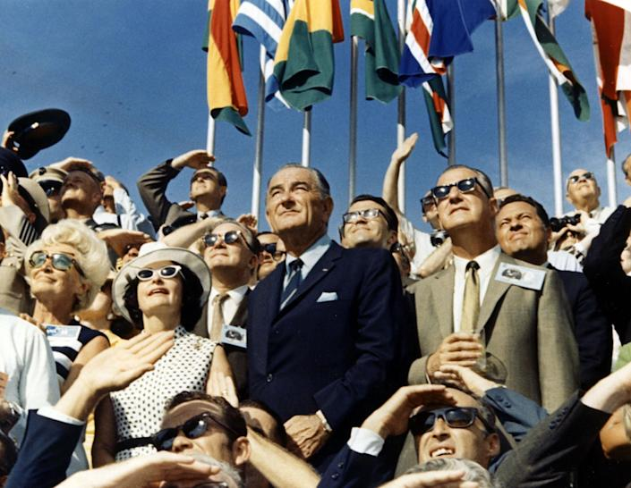 Vice President Spiro Agnew and former President Lyndon Johnson watch the liftoff of Apollo 11's crew from the Kennedy Space Center VIP viewing site. (Photo: NASA/Getty Images)