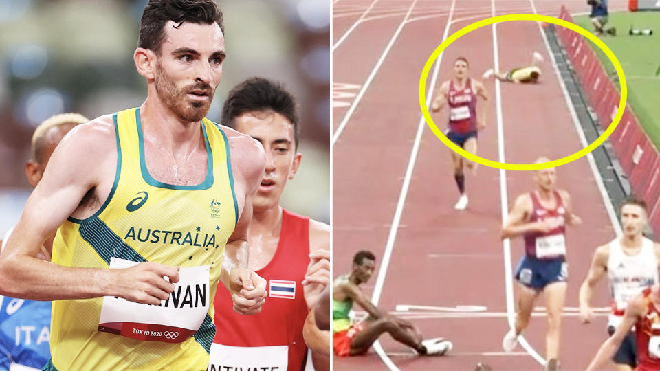 Patrick Tiernan, pictured here collapsing in the final straight of the 10,000m race.
