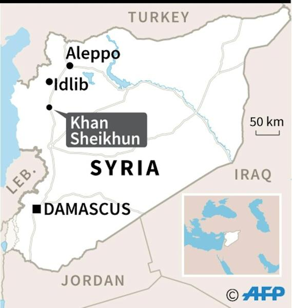 Map of Syria locating the northwestern town of Khan Sheikhun, which regime forces entered on Sunday amid intense fighting with jihadists and their rebel allies