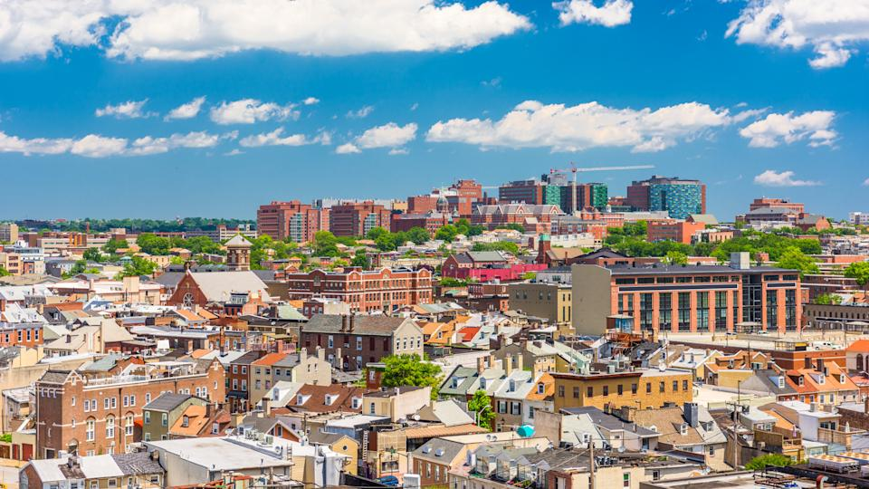 Baltimore, Maryland, USA cityscape overlooking little italy and neighborhoods.