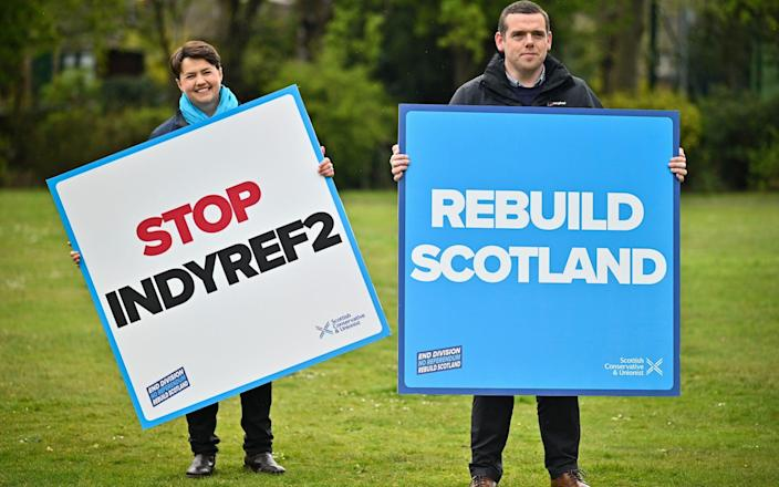 Scottish Conservative party leader Douglas Ross and Former Leader Ruth Davidson campaign during the Scottish Parliament election - Jeff J Mitchell/Getty Images