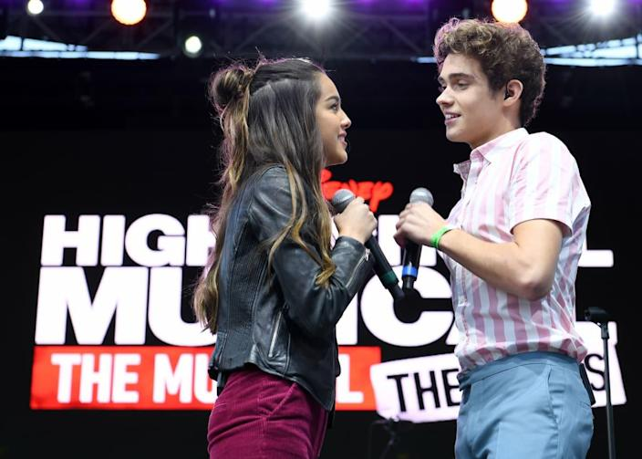 """<div class=""""inline-image__caption""""><p>Olivia Rodrigo and Joshua Bassett of <em>High School Musical: The Musical: The Series</em> perform onstage during the 5th Annual Elsie Fest: Broadway's Outdoor Music Festival on October 05, 2019, in New York City.</p></div> <div class=""""inline-image__credit"""">Jenny Anderson/Getty</div>"""