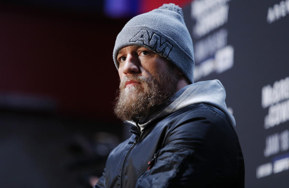 "Conor McGregor speaks during a media event for the UFC 246 mixed martial arts bout, Thursday, Jan. 16, 2020, in Las Vegas. McGregor is scheduled to fight Donald ""Cowboy"" Cerrone in a welterweight bout Saturday in Las Vegas. (AP Photo/John Locher)"