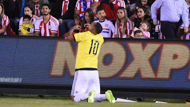 The Guarani's unbeaten home record in 2018 World Cup qualifying was brought to an end by Edwin Cardona's 91st-minute strike for Colombia.