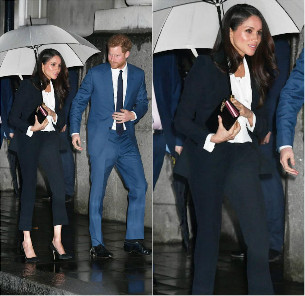 <p><strong>When: Feb. 1, 2018</strong><br />Large crowds greeted Prince Harry and Meghan Markle as they made their first red carpet appearance<br /> at the Endeavour Fund Awards on Thursday. Instead of a gown, the 36-year-old rocked<br /> an elegant Alexander McQueen tuxedo. <em>(Photo: Getty)</em> </p>