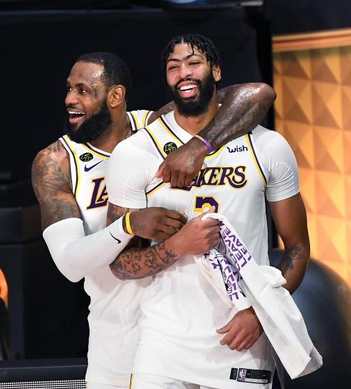 LeBron James, left, and Anthony Davis celebrate in the closing seconds of Game 6 of the NBA Finals