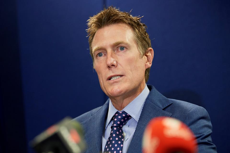 Australia's attorney general Christian Porter speaks during a press conference in Perth on March 3, denying the rape allegation. Source: Getty