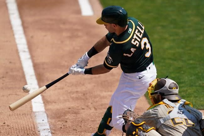 Laureano homers as A's get back on track to beat Padres 8-4