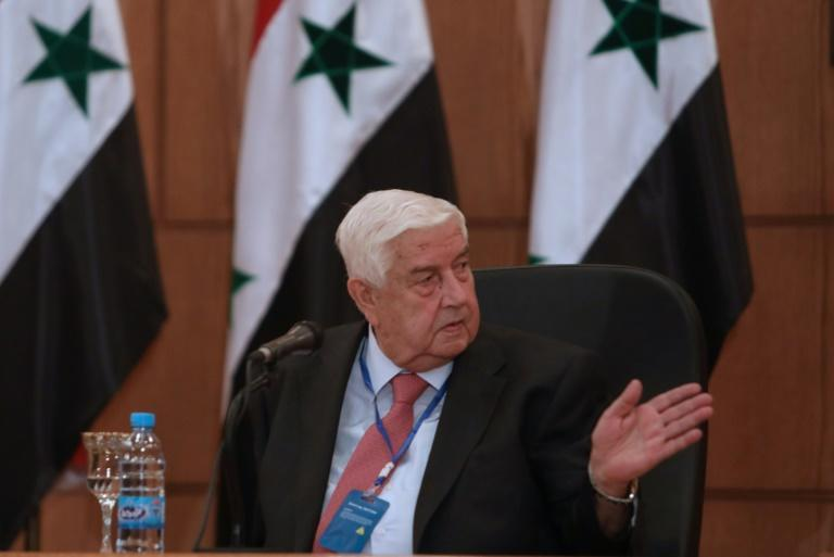 Syrian Foreign Minister Walid Muallem at a press conference with his Russian counterpart (unseen) in Syria's capital Damascus, on September 7, 2020