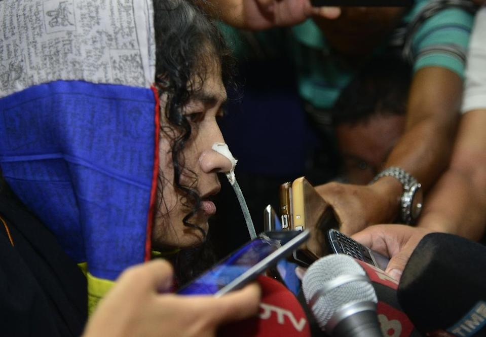 """Irom Sharmila, dubbed the """"Iron Lady of Manipur"""" for her unwavering protest against rights abuses in the insurgency-hit northeast Indian state, was released on bail after she promised a court she would end her fast (AFP Photo/Biju BORO)"""
