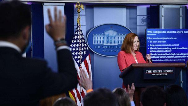 PHOTO: White House Press Secretary Jen Psaki holds a press briefing in the Brady Briefing Room of the White House in Washington, D.C, on Sept. 27, 2021. (Brendan Smialowski/AFP via Getty Images)