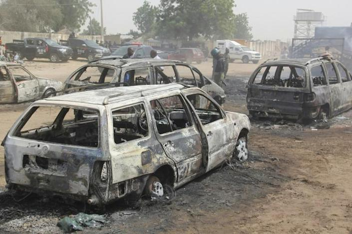 Deadly: At least 30 people were killed and women and children were abducted, in an ISWAP attack on the village of Auno in northeast Nigeria in February last year (AFP/AUDU MARTE)