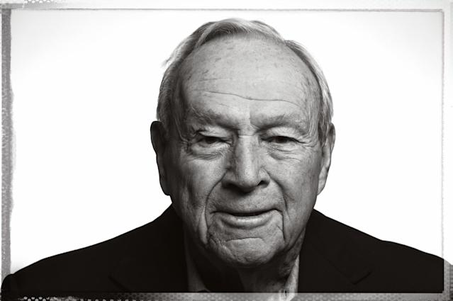 <p>Arnold Palmer poses for a portrait during a sponsors message video shoot for the Arnold Palmer Invitational Presented By MasterCard at the Winnie Palmer Hospitalon February 27, 2015 in Orlando, FL. (Photo by Chris Condon/PGA TOUR) </p>
