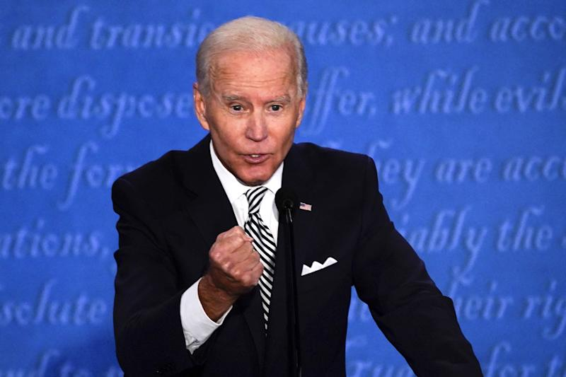 Joe Biden speaks during the first U.S. presidential debate hosted by Case Western Reserve University and the Cleveland Clinic in Cleveland, Ohio, U.S., on Tuesday, Sept. 29, 2020. (Matthew Hatcher/Bloomberg via Getty Images)