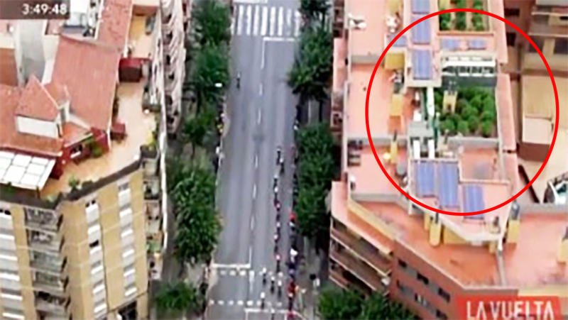 A rooftop cannabis crop was inadvertently revealed by the broadcast of a national cycling race in Spain.