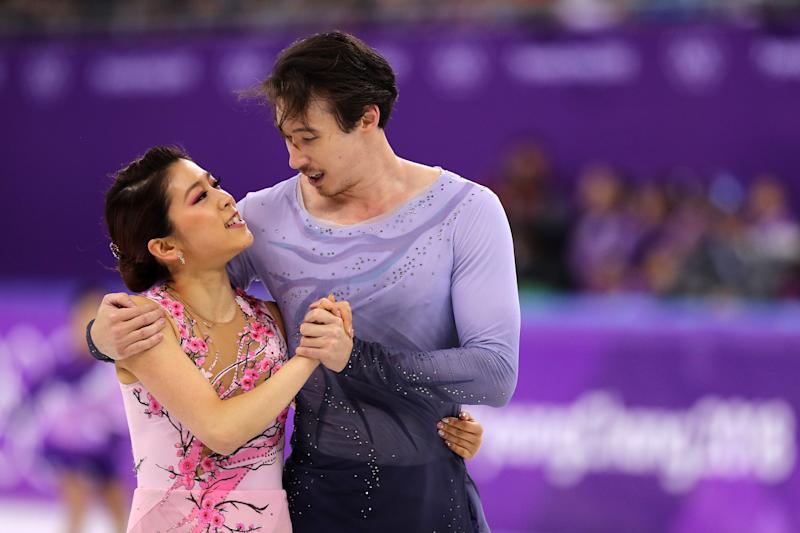 GANGNEUNG, SOUTH KOREA - FEBRUARY 20: Kana Muramoto and Chris Reed of Japan compete in the Figure Skating Ice Dance Free Dance on day eleven of the PyeongChang 2018 Winter Olympic Games at Gangneung Ice Arena on February 20, 2018 in Gangneung, South Korea. (Photo by Maddie Meyer/Getty Images)