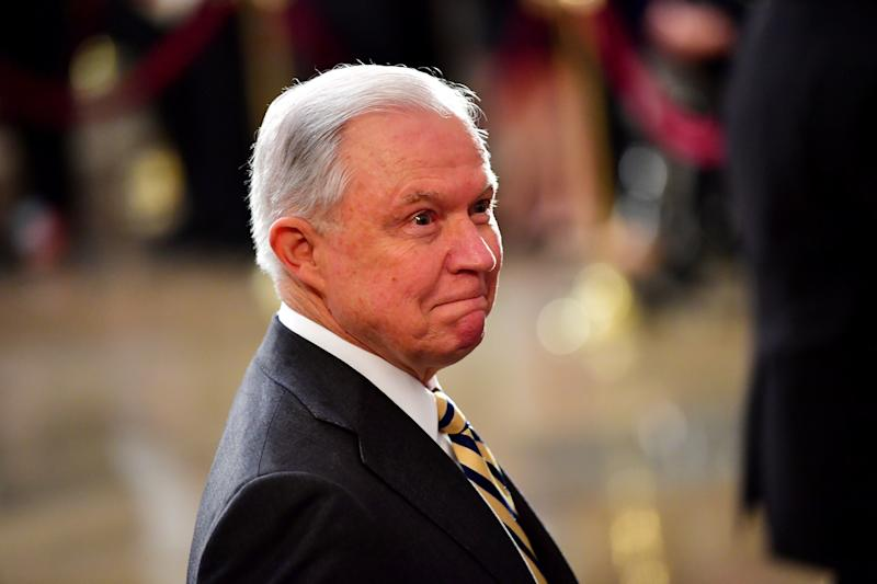 Attorney General Jeff Sessions, seen Friday at the U.S. Capitol as the casket of late Sen. John McCain lies in state. (POOL New / Reuters)