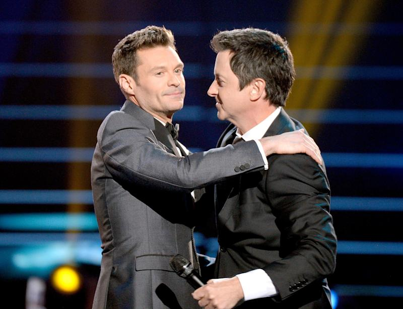 "Ryan Seacrest and Brian Dunkleman onstage during Fox's ""American Idol"" finale on April 7, 2016."