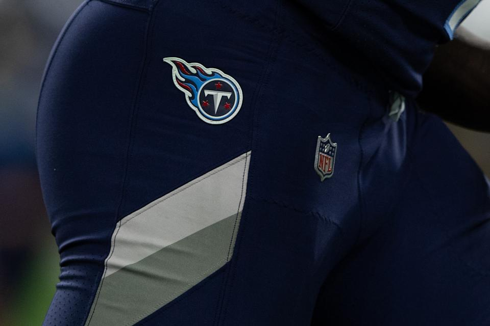 The Tennessee Titans logo on a player uniform.