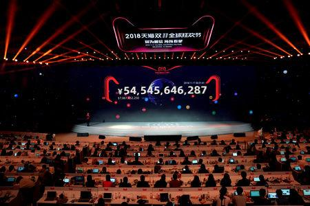 A screen shows the value of goods being transacted at Alibaba Group's 11.11 Singles' Day global shopping festival in Shanghai, China, November 11, 2018. REUTERS/Aly Song