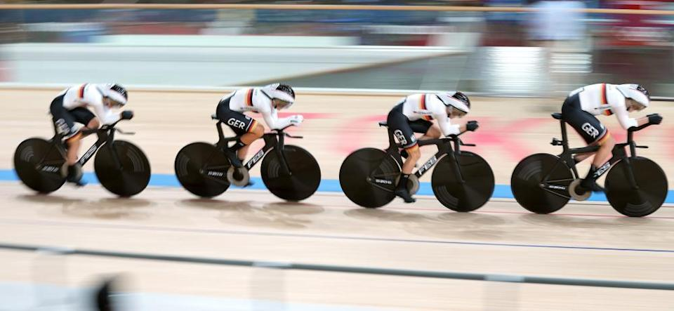 Germany on their way to a world record in the women's team pursuit.