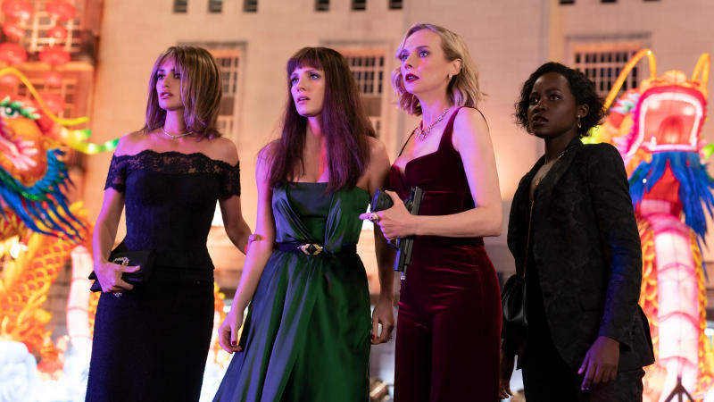 Penelope Cruz, Jessica Chastain, Diane Kruger and Lupita Nyong'o in 'The 355'. (Credit: Robert Viglasky/Universal Pictures)