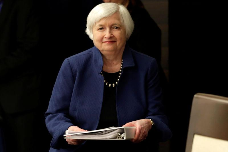 Federal Reserve Chair Janet Yellen arrives at a news conference in Washington