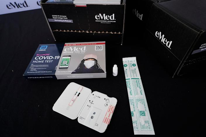 A COVID-19 home rapid testing kit in Miami on May 20, 2021.