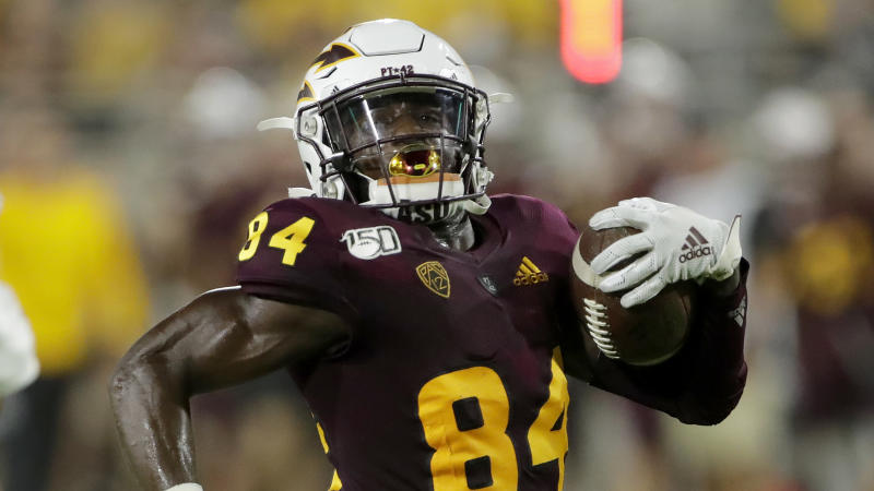 Arizona State wide receiver Frank Darby could boost his draft stock if the Pac-12 plays football this season. (AP Photo/Matt York)