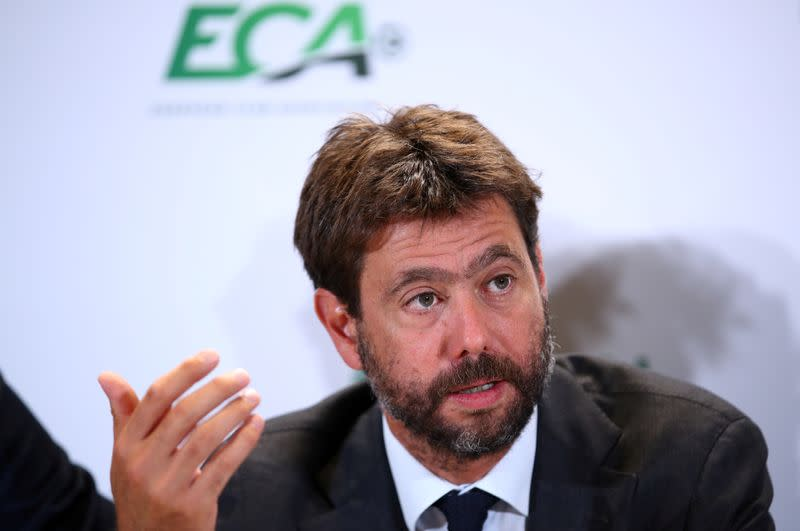 FILE PHOTO: European Club Association (ECA) Chairman Andrea Agnelli and other ECA representatives hold news briefing after the 23rd ECA General Assembly