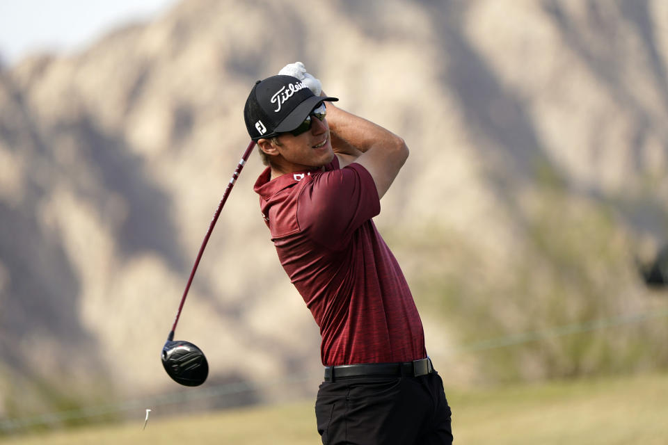 Richy Werenski hits from the first tee during the third round of The American Express golf tournament on the Pete Dye Stadium Course at PGA West Saturday, Jan. 23, 2021, in La Quinta, Calif. (AP Photo/Marcio Jose Sanchez)