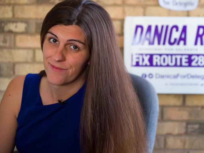 Danica Roem sits in her campaign office on September 22, 2017, in Manassas, Virginia.  (AFP via Getty Images)