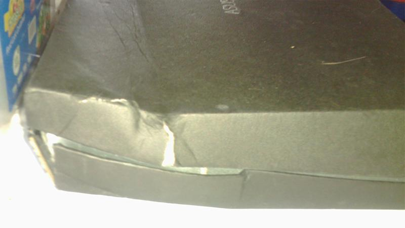 Pictured is the broken box the laptop was delivered in by Australia Post.
