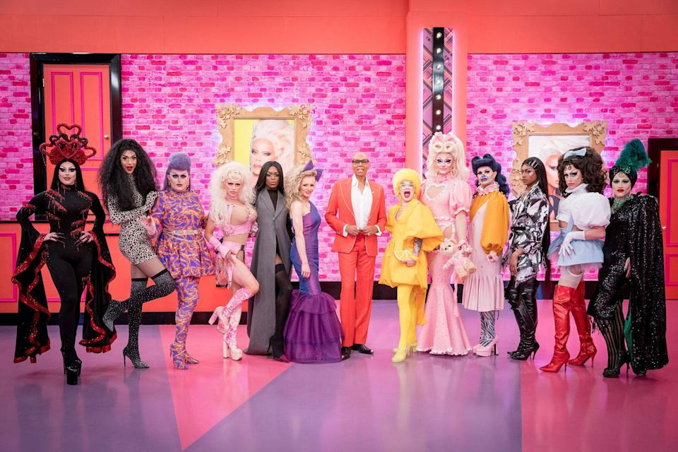 RuPaul (centre) with the queens of season two (Photo: BBC/World of Wonder/Guy Levy)